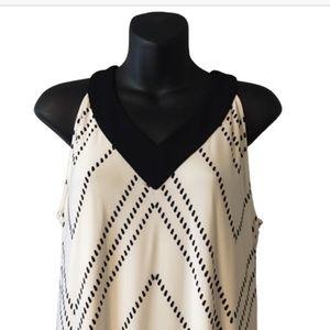 Chico's Dresses - Chico's White and Black V-Neck Printed Maxi Dress